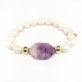 Freshwater Pearl & Purple 'Rock Candy' stretch bracelet 14k Over Sterling Silver