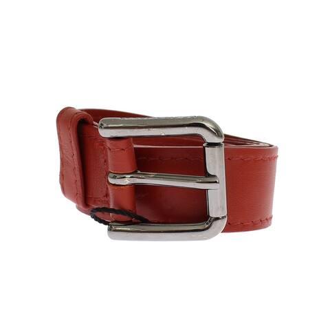 Dolce & Gabbana Red Leather Silver Buckle Logo Women's Belt