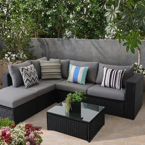 Patio Outdoor 5 Piece PE Rattan Sectional Sofa Furniture Set