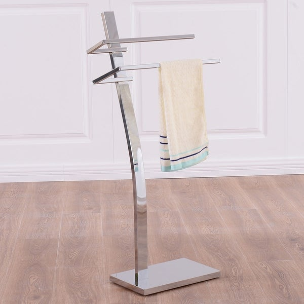 Shop Costway 2 Tier Free Standing Floor Towel Holder Contemporary
