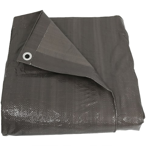Sunnydaze 6 x 8-Foot Reversible Waterproof Dark Grey Multi Purpose Poly Tarp - 6 x 8 Feet