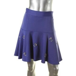 CATHERINE CATHERINE MALANDRINO Womens Rhinestone Embellished Flare Skirt - 2