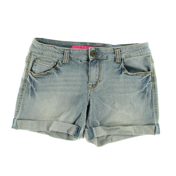 da133938a Shop Tinseltown Womens Juniors Denim Shorts Light Wash Cuffed Denim 7 - Free  Shipping On Orders Over $45 - Overstock - 17697089