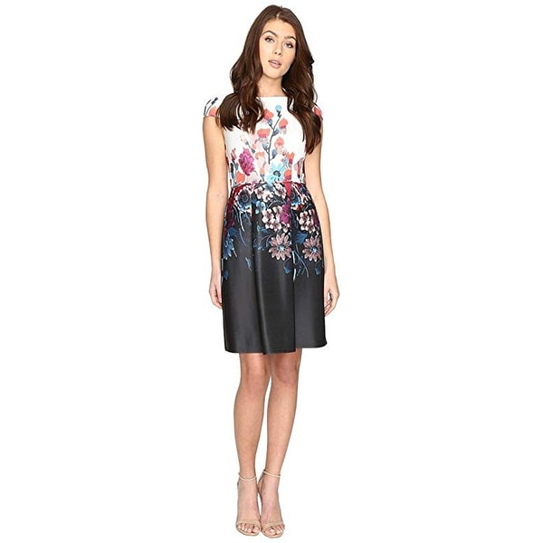 Shop Adrianna Papell Printed Scuba Fit And Flare Black
