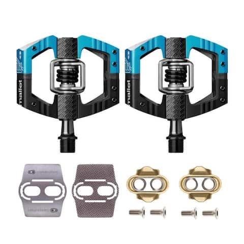 Crank Brothers Mallet Bike Pedals (Black/Blue) w/Cleats & Shoe Shields