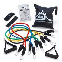 Black Mountain Products Resistance Band Set with Door Anchor, Ankle Strap, Exercise Chart,
