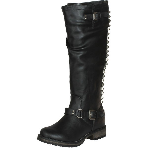 Breckelles Womens Trooper-14 Vegan Mid Calf Round Toe Studded Motorcycle Boots