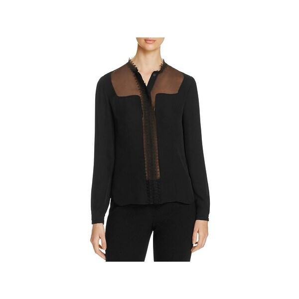 0b0e89bc9424d Shop Elie Tahari Womens Coretta Blouse Silk Lace Trim - Free ...