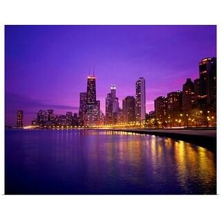 """""""USA, Illinois, Chicago skyline and Lake Michigan"""" Poster Print"""