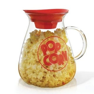 Ecolution Kitchen Extras Glass Microwave Popcorn Maker  Wide Mouth Design And Dual Function Lid  Temperature Safe Glas