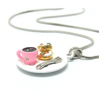 Children's Two Miniature Donuts and Coffee Pendant Necklace
