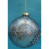 "Silent Luxury Crackled Grey Ball With Pinecone Pattern Christmas Ornament 4"" (100mm)"