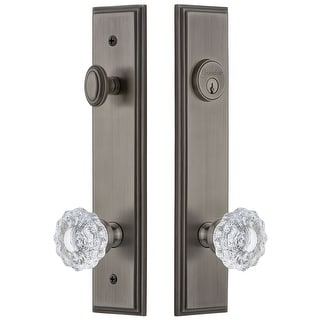 Grandeur CARVER_TP_ESET_238  Carre Solid Brass Tall Plate Single Cylinder Keyed Entry Set with Versailles Crystal Knob and