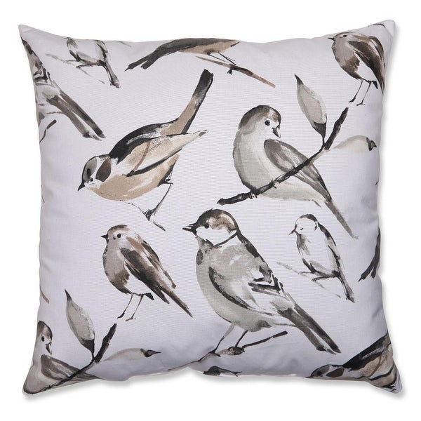 "23"" Black and Gray Bird Lovers Decorative Floor Pillow"