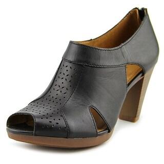 Clarks Narrative Jovelyn Hollis Women Peep-Toe Leather Black Bootie