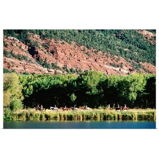 """Horse riders, Red Mountain Ranch"" Poster Print"