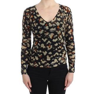 Cavalli Multicolor v-neck wool jumper