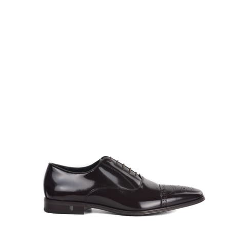 Versace Collection Mens Polished Leather Brown Wingtip Oxfords~RTL $625