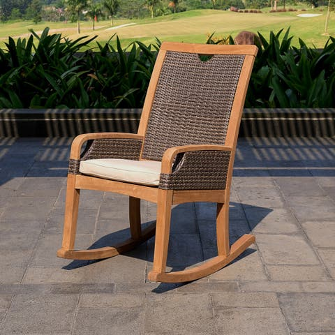 Cambridge Casual Palma Teak Outdoor Rocking Chair with Cushion