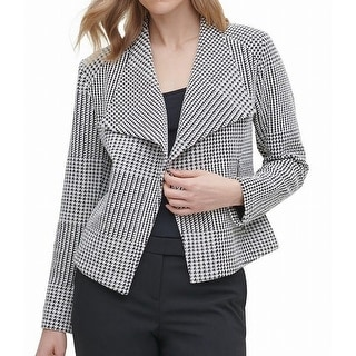 Link to Calvin Klein Women's Black Size Small S Houndstooth Flyaway Jacket Similar Items in Women's Outerwear
