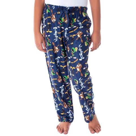 Looney Tunes Boys' Daffy Duck Bugs Bunny Taz Marvin Martian Allover Toss Print Lounge Sleep Pajama Pants