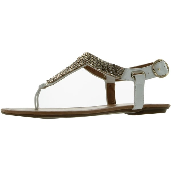City Classified Women's Lynet Metallic Mesh T-Strap Thong Flat Slingback Sandal - white patent-lynet