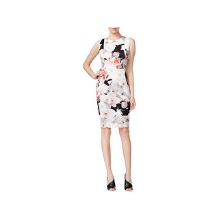 Calvin Klein Womens Scuba Dress Floral Print Sleeveless