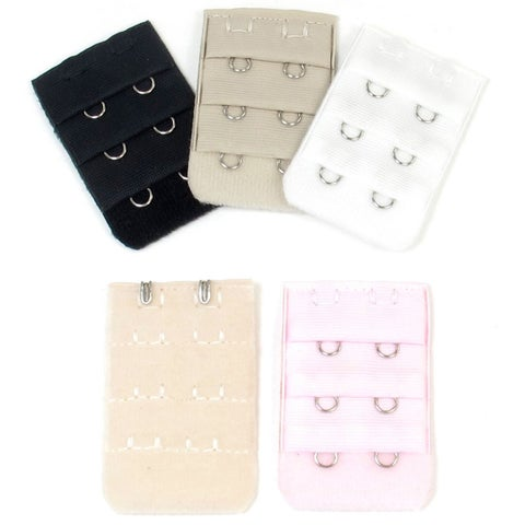 Unique Bargains Women's 3 x 2 Hooks Bra Extenders Strap Extention Pale Pink Beige White 5 Pcs
