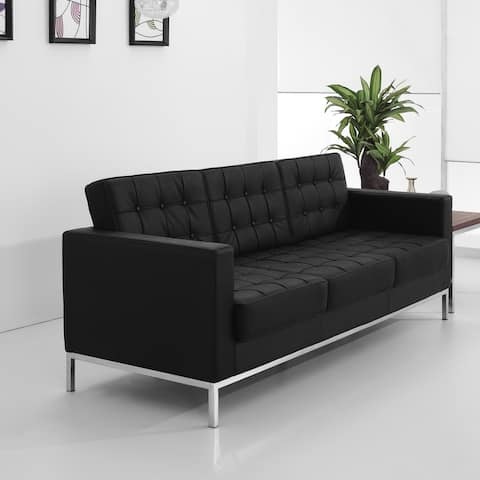 Contemporary Button Tufted LeatherSoft Sofa w/ Steel Frame