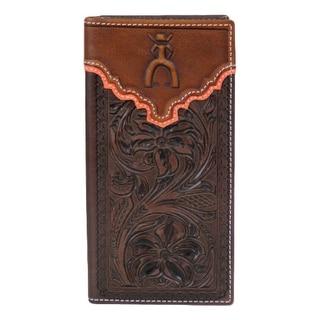 HOOey Western Wallet Mens Punchy Rodeo Logo Slots Mahogany 1627137W1 - 3 1/2 x 3/4 x 7