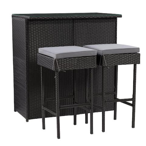 CorLiving Parksville Black Patio Bar Set - Ash Grey Cushions 3pc