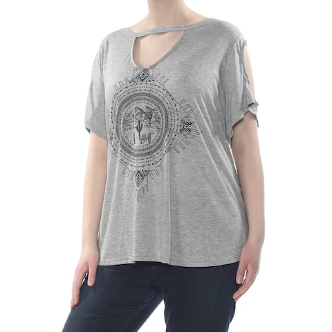 JESSICA SIMPSON Womens Gray Cut Out Cactus Print Short Sleeve Top Plus Size: 2X