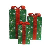 Set of 3 Lighted Tall Green Sisal Gift Boxes Christmas Yard Art Decorations
