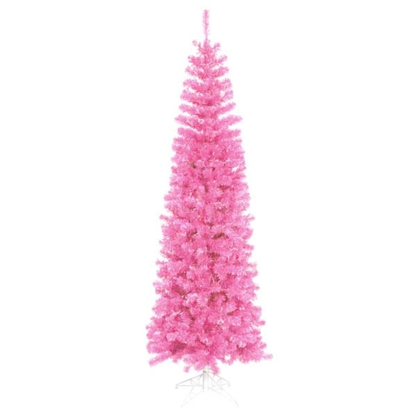 10' Pre-Lit Hot Pink Artificial Pencil Tinsel Christmas Tree - Pink Lights