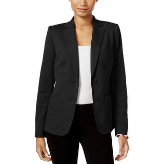 Tommy Hilfiger Womens Two-Button Blazer Patch Pocket Crepe