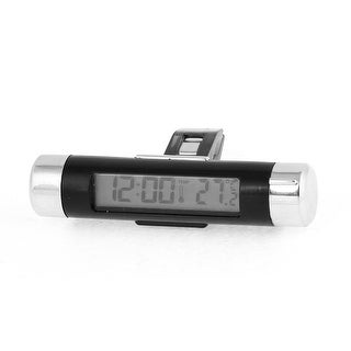 Unique Bargains 3 Buttons Car LCD Digital Clock Thermometer Black w Double Side Tape Clip