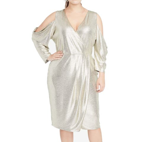 Rachel Roy Womens Dress Gold Size 1X Plus Sheath Surplice Cold Shoulder