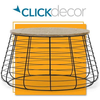 ClickDecor Lydia Matte Black Wireframe Coffee Table, Distressed Wood Finish Tabletop, Fully Assembled