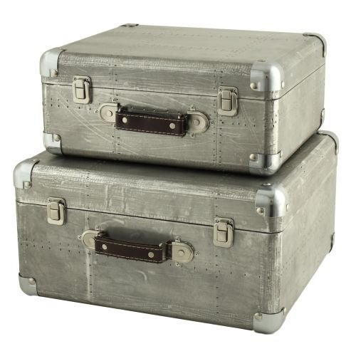 Aspire Home Accents 5751 Hagen Suitcase Trunks (Set of 2) - Grey