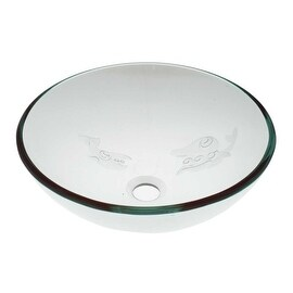 Tempered Glass Vessel Fish Etched Bathroom Sink Pop-up In