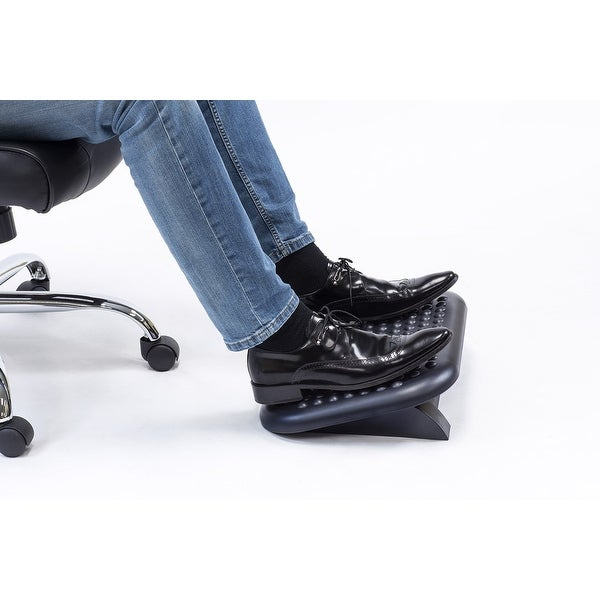 Mount-It! Adjustable Ergonomic Footrest Massaging Bumps to Reduce Muscle Strain and Fatigue, Black - MI-7802
