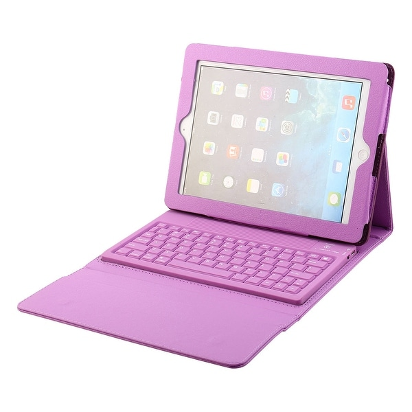 Wireless bluetooth Folding Keyboard Case Cover Purple for iPad 2/3/4