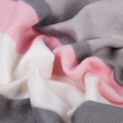 STP-Goods Gray-Pink Stripe Flannel Throw Blanket