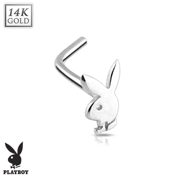 14kt White Gold L Bend Playboy Bunny Nose Ring (Sold Individually)