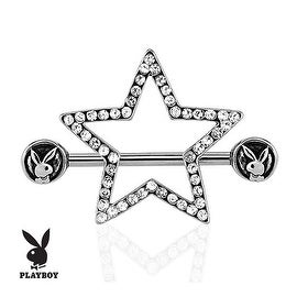 Playboy Bunny with Paved Gems Star 316L Surgical Steel Nipple Bar (Sold Individually)