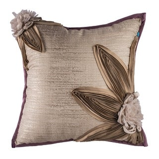 100% Handmade Imported Petals Pillow Cover, Shades of Gold and Tan, Purple Trim