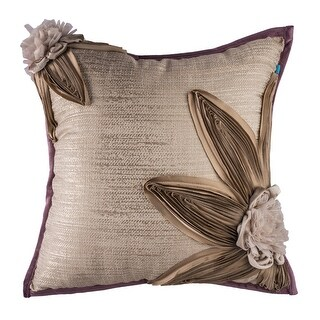 100% Handmade Imported Petals Throw Pillow Cover, Taupe