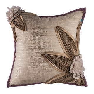 Decorative Rustic Floral Taupe Handmade Boho Throw Pillow Cover