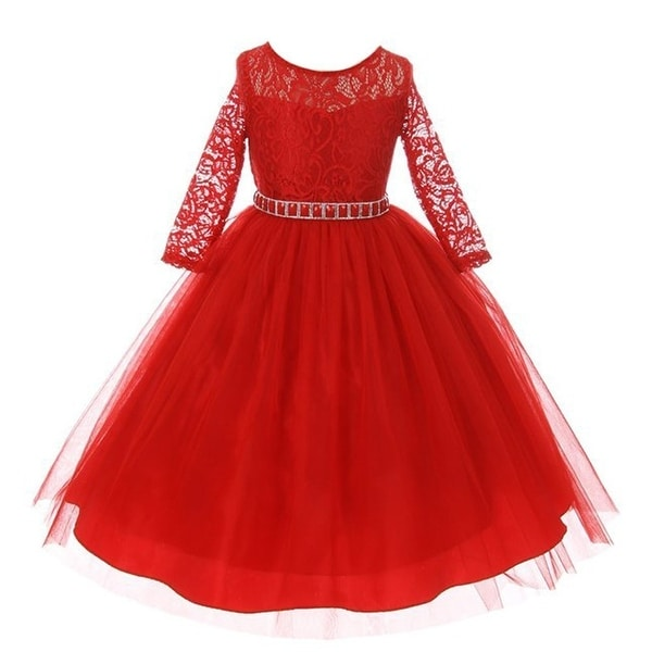 782f5a13f4e Shop Girls Red Floral Lace Rhinestone Waist Tulle Christmas Dress - Free  Shipping Today - Overstock - 18162854