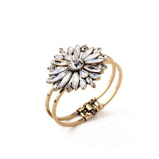 Gold Star Burst Crystal Flower Cuff Bracelet
